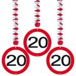 1080094_05119 Hangdecoratie verkeersbord 20 jr 3 st.