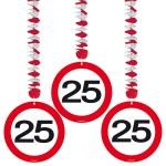 1080096_05124 Hangdecoratie verkeersbord 25 jr 3 st.