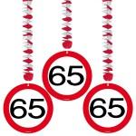 1080101_05136 Hangdecoratie verkeersbord 65 jr 3 st.