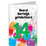 leeftijdkaart Hoera hartelijk gefeliciteerd 14 jaar