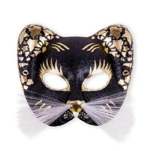 Oogmasker kat zwart-goud