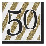 Servetten zwart-goud 50
