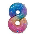 Folieballon regenboog cijfer 8