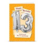 Leeftijd ballon gift card 13