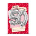 Ballon wenskaart happ birthday 50
