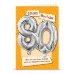 Ballon wenskaart happ birthday 80