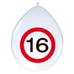 """ballonnen 12"""" (30 cm) verkeersbord 16 jaar"""