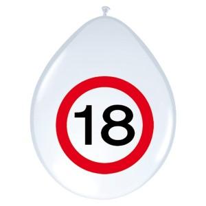 """ballonnen 12"""" (30 cm) verkeersbord 18 jaar"""