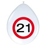 """ballonnen 12"""" (30 cm) verkeersbord 21 jaar"""