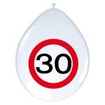 "Folatex balonnen 12"" (30 cm) verkeersbord 30 jaar"