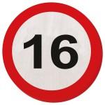 Servetten verkeersbord 16 jaar