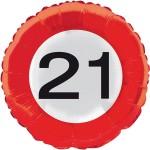 Verkeersbord folieballon 21 jaar
