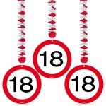 1080093_05117 Hangdecoratie verkeersbord 18 jr 3 st.