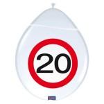 "ballonnen 12"" (30 cm) verkeersbord 20"