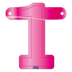 Banner letter cijfer 1 roze