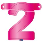 Banner letter cijfer 2 roze
