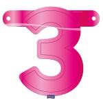 Banner letter cijfer 3 roze