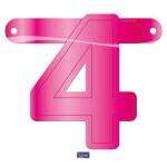 Banner letter cijfer 4 roze