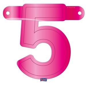 Bannerletter cijfer 5 roze
