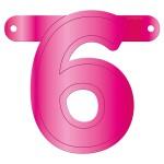 Banner letter cijfer 6 roze