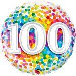 Folieballon 100 rainbow confetti