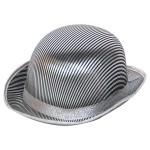 1200001_06055 Bowler hat pinstripe zilver-zwart