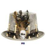 Grijze hoed met bruine veer en botten