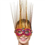 Masker venice magneta goud deluxe