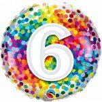 Folieballon 6 rainbow confetti