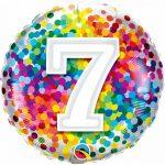 Folieballon 7 rainbow confetti
