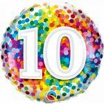 Folieballon 10 rainbow confetti