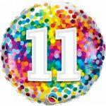 Folieballon 11 rainbow confetti