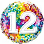 Folieballon 12 rainbow confetti