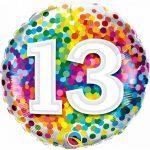 Folieballon 13 rainbow confetti