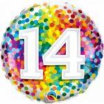 Folieballon 14 rainbow confetti