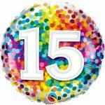 Folieballon 15 rainbow confetti