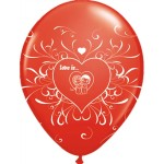 "Latex ballon 11"" Love is Ruby Red"