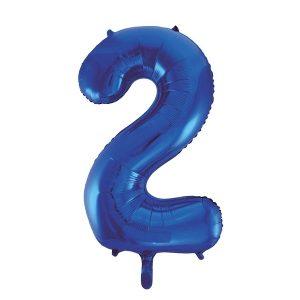 Folieballon 2 blauw 92 cm