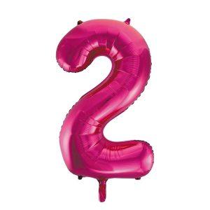 Folieballon 2 roze 92 cm