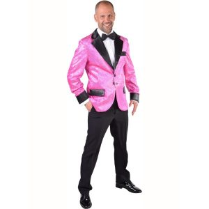 Glitter colbert pink heren