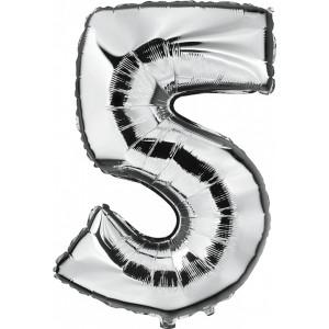 "Folieballon ""5"" zilver"