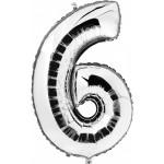 "Folieballon ""6"" zilver"