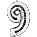 "Folieballon ""9"" zilver"