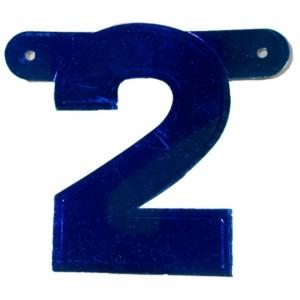 Banner letter cijfer 2 blauw metallic