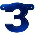 Banner letter cijfer 3 blauw metallic