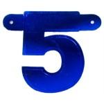 Banner letter 5 blauw metallic
