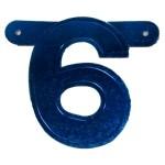 Banner letter 6 blauw metallic