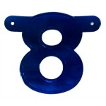 Banner letter cijfer 8 blauw metallic