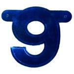 Bannerletter cijfer 9 blauw metallic