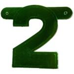 Banner letter cijfer 2 groen metallic